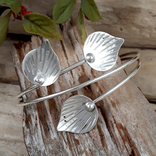Ray Leaf Polished Silver Cuff