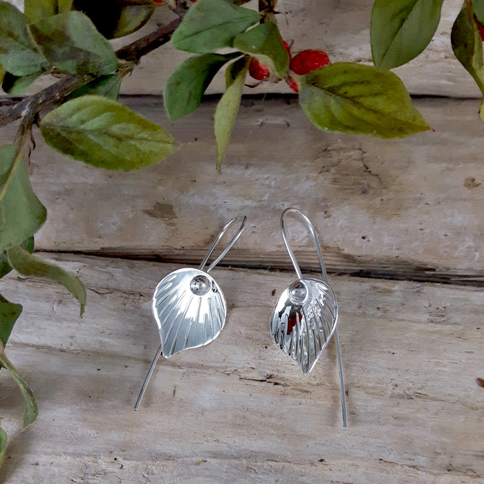 Ray Leaf Polished Silver Drop Earrings