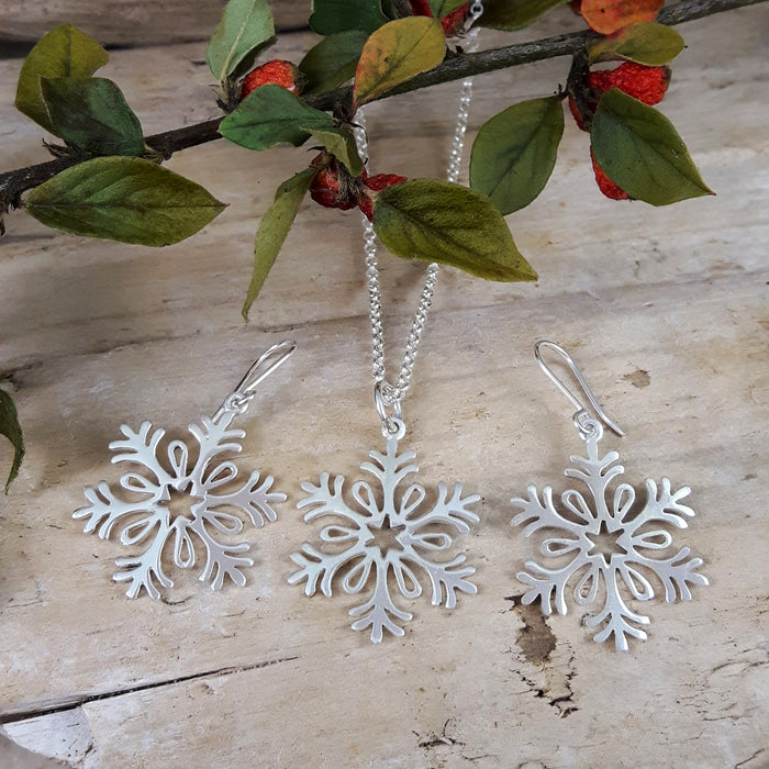 Snowflake Star Drop Earrings