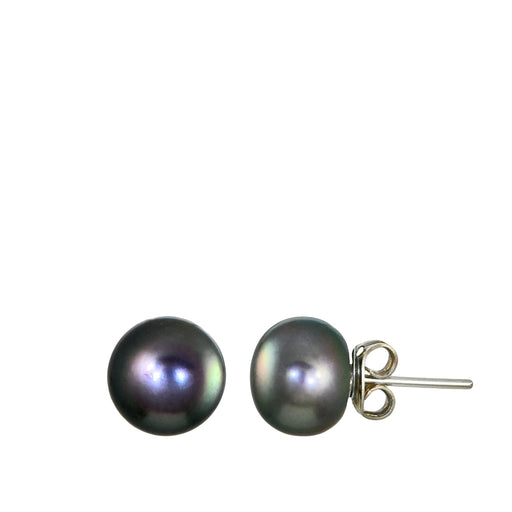 Grey Pearl Large Stud Earrings