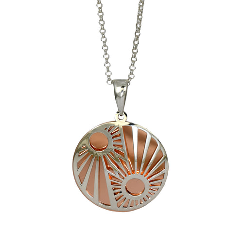 Celtic Sunrise Silver/Copper Pendant