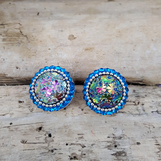 Allegra Victoria Teal Stud Earrings