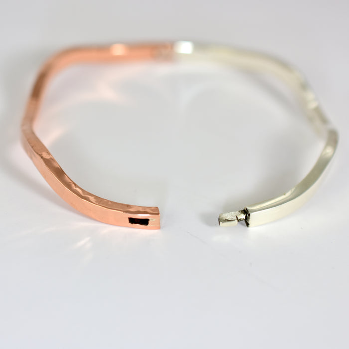 Wave Silver & Copper Snap Bracelet