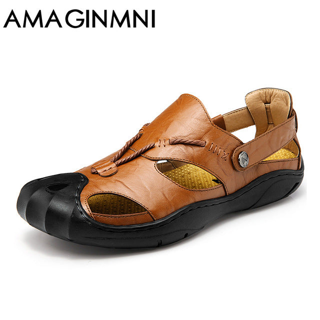 b170337c5a76 AMAGINMNI genuine leather men sandals summer cow leather new for beach male  shoes men... - Brown   8