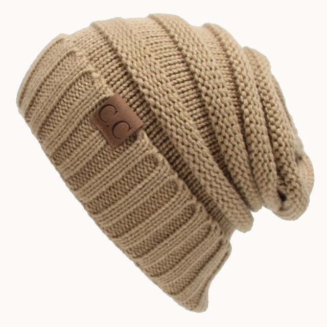 ade235511227b Women Winter Knitted Wool Cap CC Beanies Hats   Caps Men Casual Unisex  Solid Color Hip-Ho... - Khaki