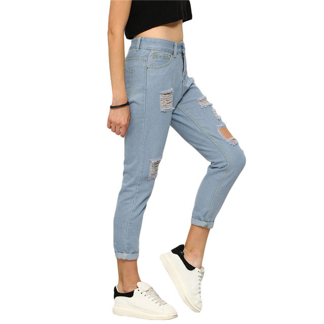8ad4cbed8d2 ROMWE High Waist Ripped Denim Pants 2018 Spring Blue Button Fly Skinny  Casual Woman Pa... - Blue / M