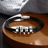 Personalised Leather bracelet for men with engraved silver beads, add up to 5 beads, bespoke gift for him