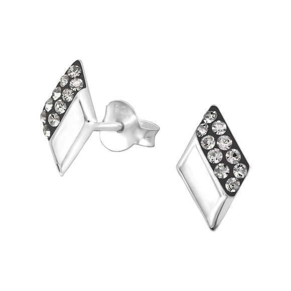 Model: ES32016ELF Colour: Silver Material: 925 Sterling Silver, Crystal Style: Sterling Silver Studs, Diamond Shape Size: 6mm*10mm Weight: 0.45g