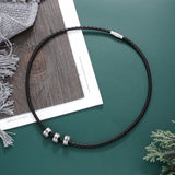 Personalised Leather necklace for men with engraved silver beads, add up to 5 beads, bespoke gift for him