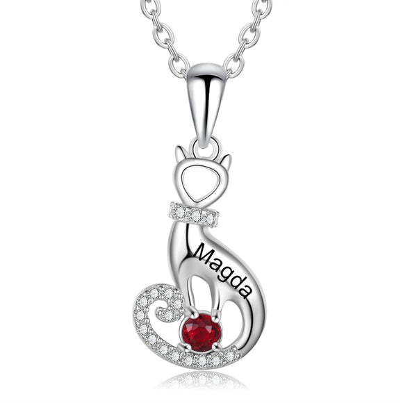 'LOVE MY CAT' Sterling Silver Birthstone Necklace Express your love for your cat by adding your cat's name and birthstone on this beautiful heart-shape silver necklace.  A wonderful gift for cats lovers.