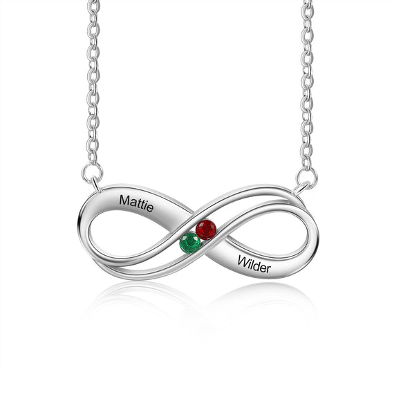 Personalised Silver Infinity Necklace for Women | Engraved Necklace | Birthstone Necklace | Customised Gift for Her | Gift Ideas for Women