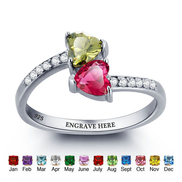 personalised silver Birthstone Ring