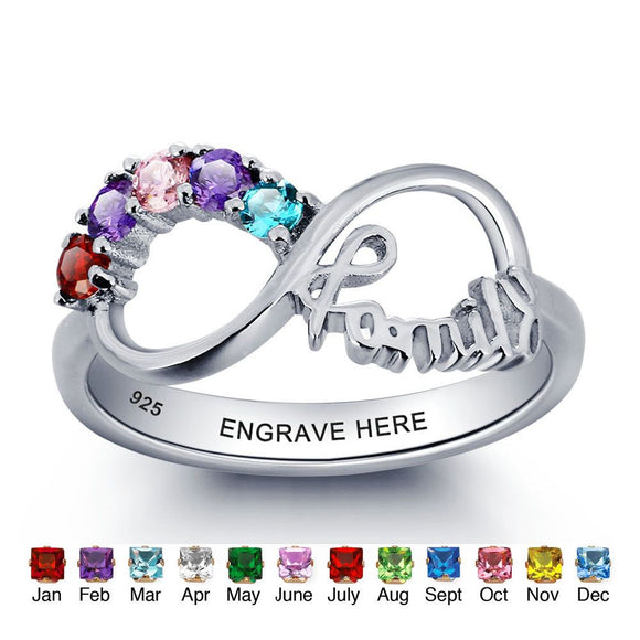 Personalized bespoke 925 sterling silver birthstone rings