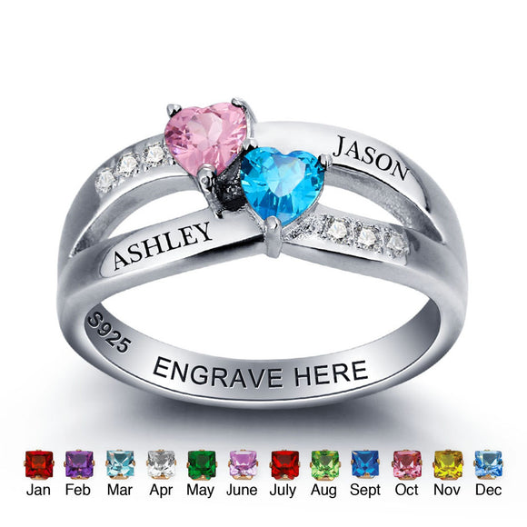 personalized customized bespoke birthstone 925 sterling silver ring