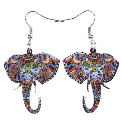 Big Long Elephant Earrings