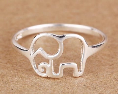 925 Sterling Silver Ring of elephant