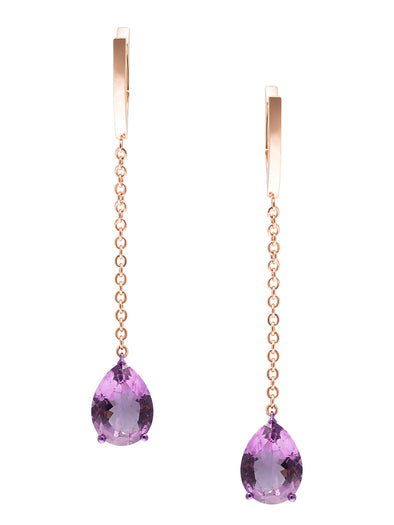 amethyst earrings with rose gold chains