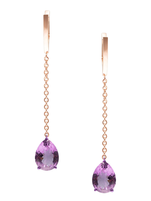 Amethyst Earrings with Rose Gold Chain