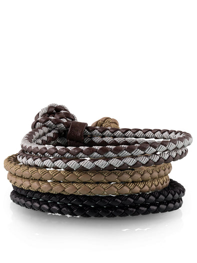 mixed woven bracelets khaki black for men