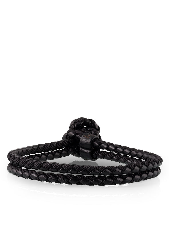 mixed woven bracelet in black for men