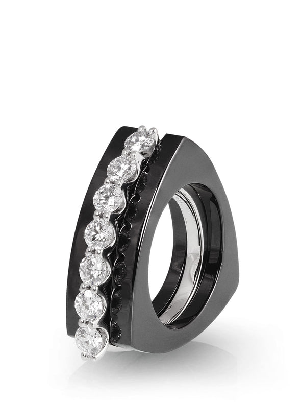 simple diamond ring in white gold with black ceramic