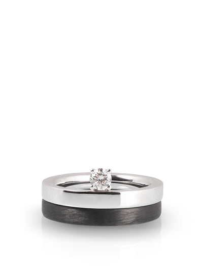 white gold diamond ring with carbon thin ring