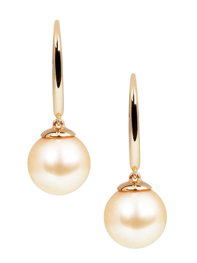 Golden south sea pearls with yellow gold earrings