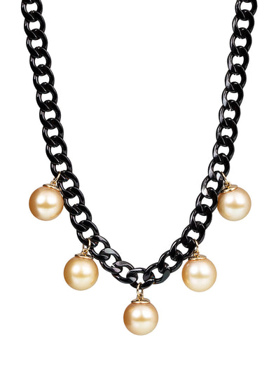 Golden South Sea Pearls Stainless Steel Necklace