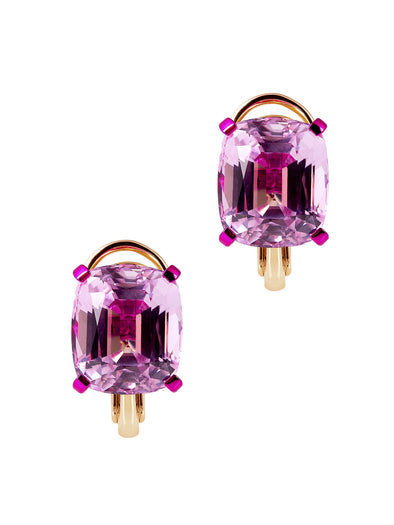 kunzite earrings with yellow gold and fuchsia coating
