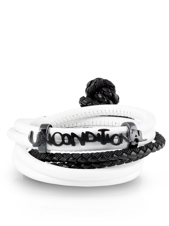 white leather with black woven bracelets unconditional clip