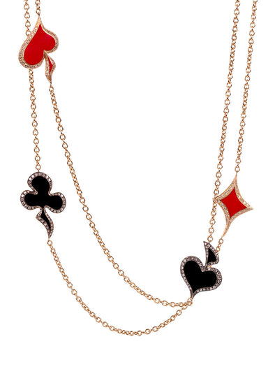 lucky hand enamel and diamond necklace in 18K rose gold