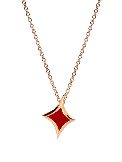 lucky hand diamonds red enamel necklace