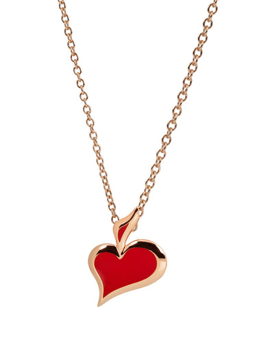 lucky hand hearts enamel necklace in rose gold