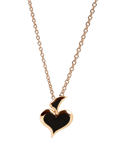 lucky hand black enamel necklace in 18K rose gold