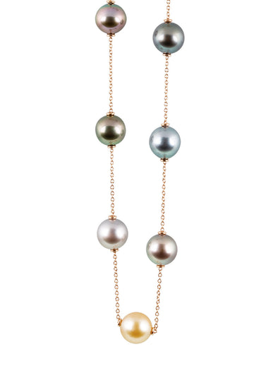 mixture of tahitian pearls full round necklace in 18K rose gold