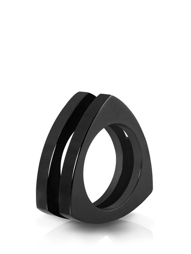 ceramic triangle ring in glossy black