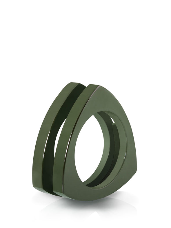 Ceramic Triangle Ring in Green