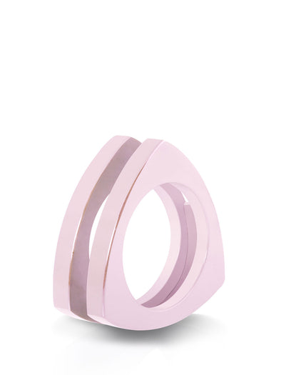 ceramic triangle ring in pink