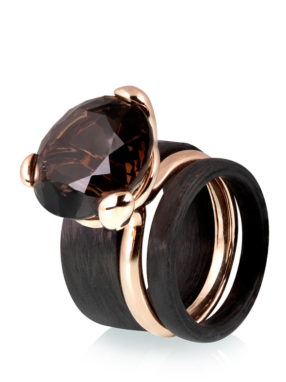 Simple Ring with Smoky Quartz with Carbon Rings Combo