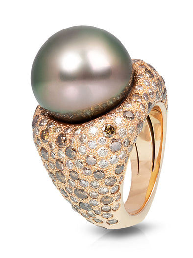 tahitian pearl cocktail ring with champagne diamonds in 18K rose gold