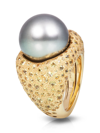 tahitian pearl cocktail ring with yellow sapphires in 18K yellow gold