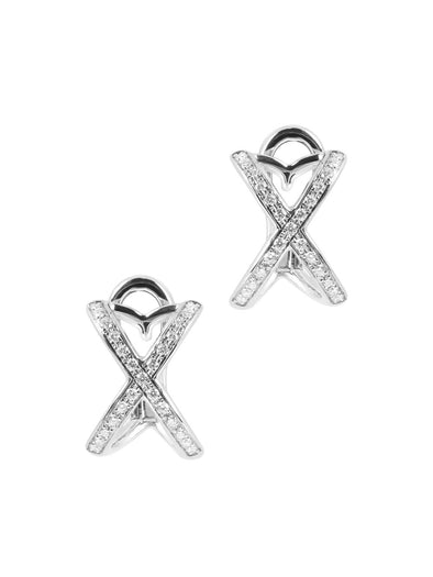 Tattoo Earrings In White Gold