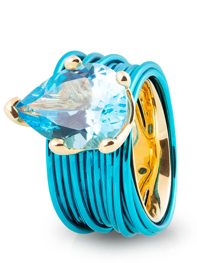 The Wire Ring with Pear London Blue Topaz