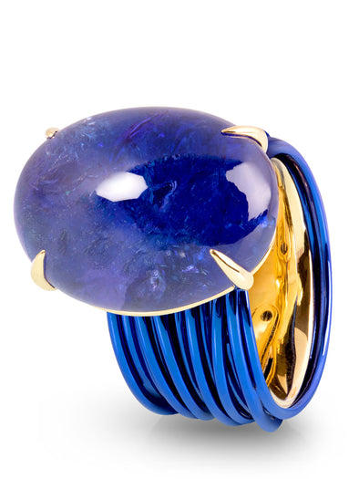 The Wire Ring with Tanzanite