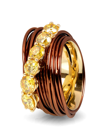 The Wire Ring with Yellow Diamonds