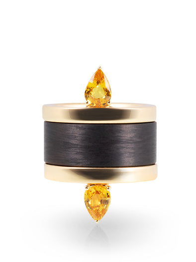 yellow gold sapphire rings with carbon thick ring