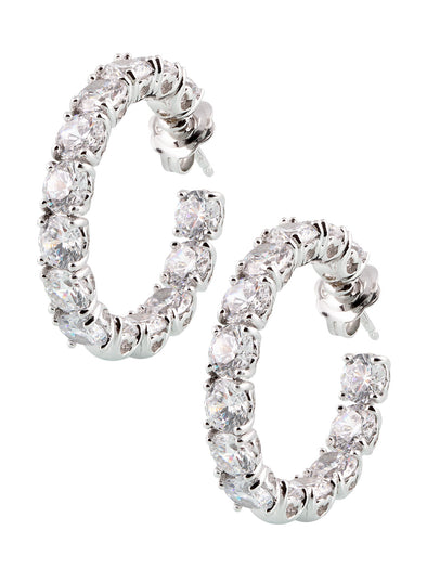 full diamond earrings with 18k carat white gold