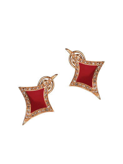 lucky hand diamonds earrings with champagne diamonds and red enamel
