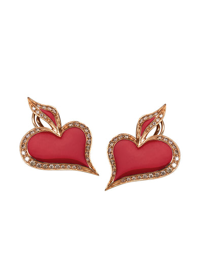 lucky hand hearts symbol earrings in 18K rose gold with champagne diamonds
