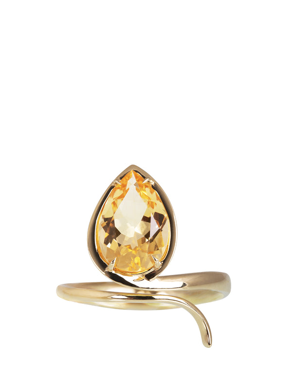 citrine snake ring with yellow gold 18K
